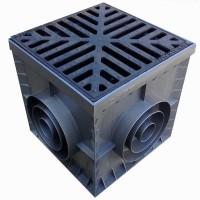 Комплект: Дождеприемник пластиковый черный 300 с чугунной решеткой