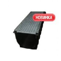 Комплект: Лоток DN300 водоотводящий пластиковый со стальной ячеистой решеткой